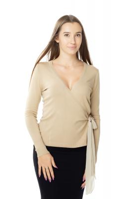 Beżowy sweter damski wiązany