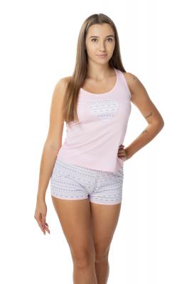 Różowa piżama damska krótka...
