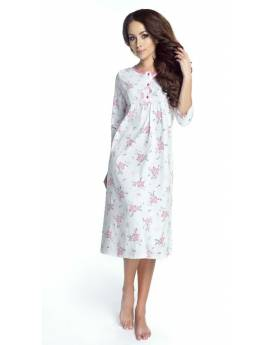 Bawełniana koszula nocna w różowe kwiaty